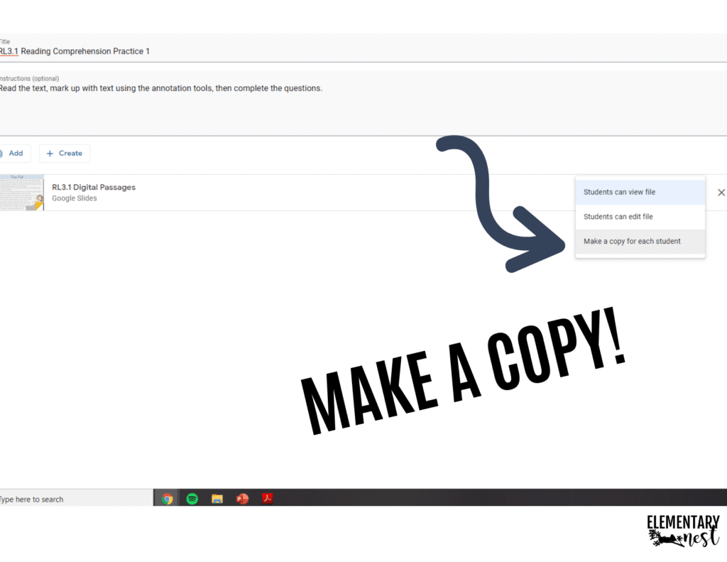 making a copy of a resource in google classroom