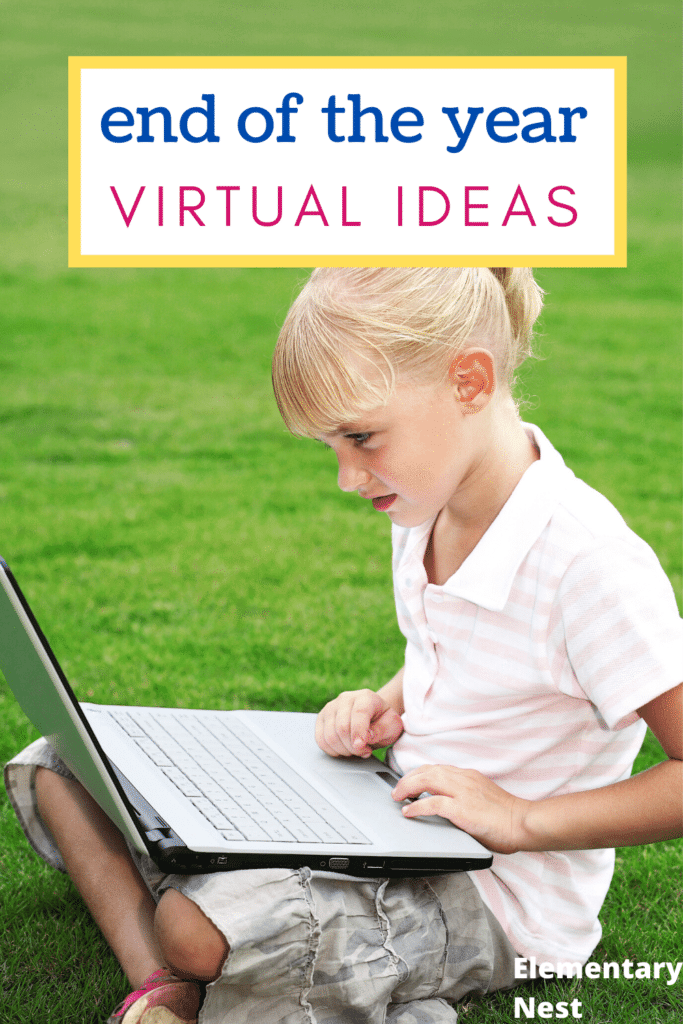 Girl learning in grass for virtual end of the year
