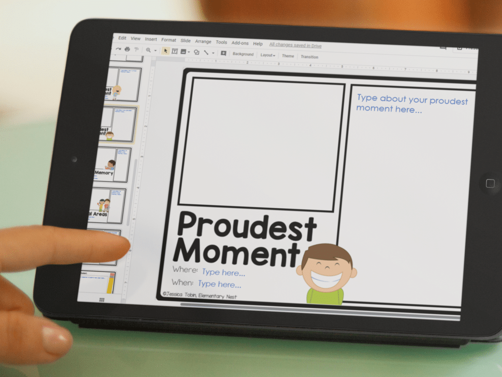 iPad with end of the year digital memory book