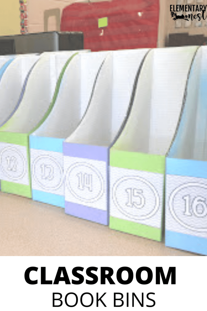 Classroom book bins for each student in various colors