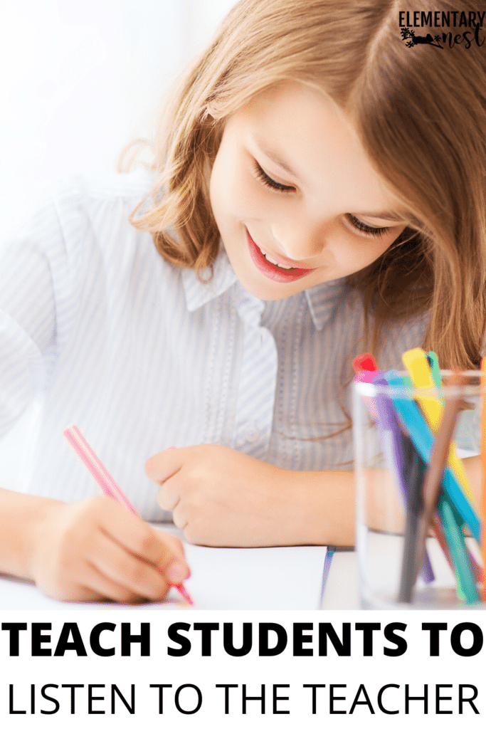 girl drawing and listening to teacher
