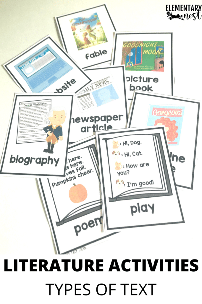 Kindergarten literature types of text activity