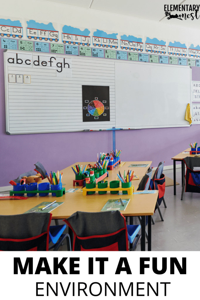 Make the classroom fun for kids with a picture of a classroom with bright colors and kid-friendly desks