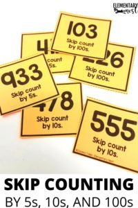 Skip counting starting at any number task cards