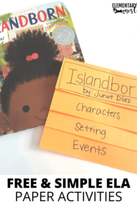 foldable flip book for story elements with read aloud Islandborn by Junot Diaz