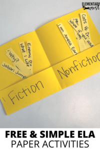 foldable paper-made book for sorting fiction vs. nonfiction book titles