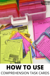 Using comprehension task cards