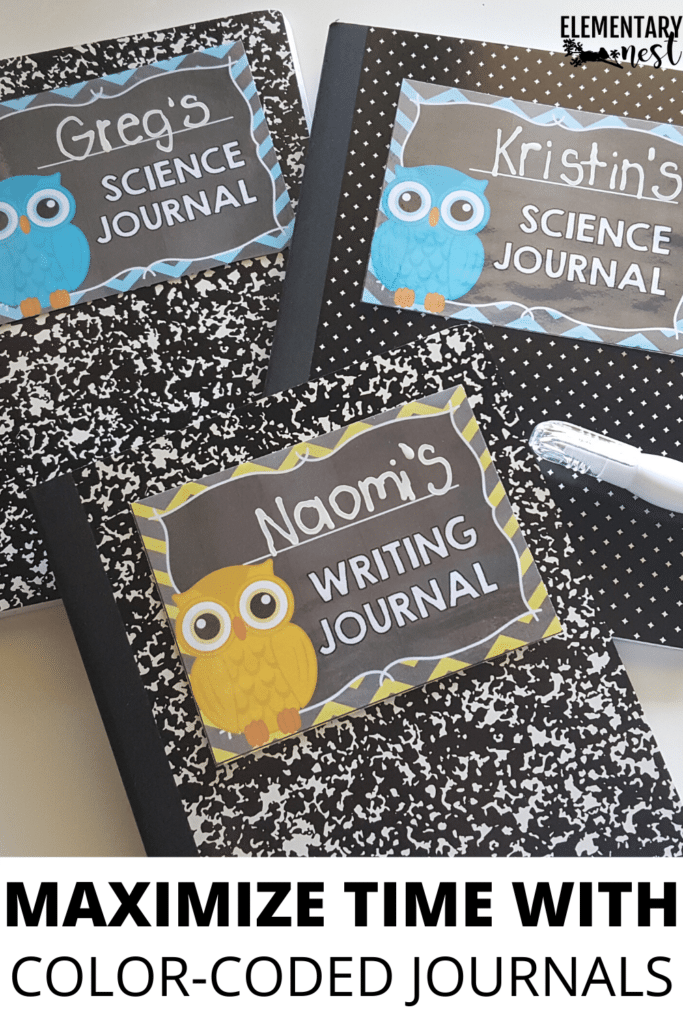 Color-coded journals for elementary students