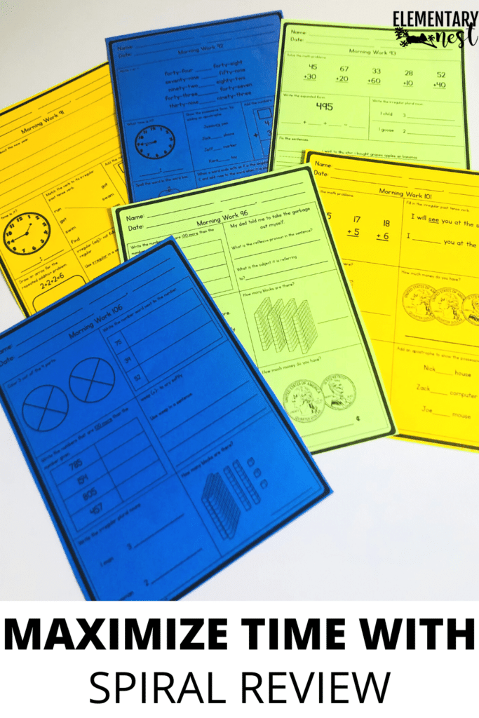 Spiral review worksheets in different colors for elementary students