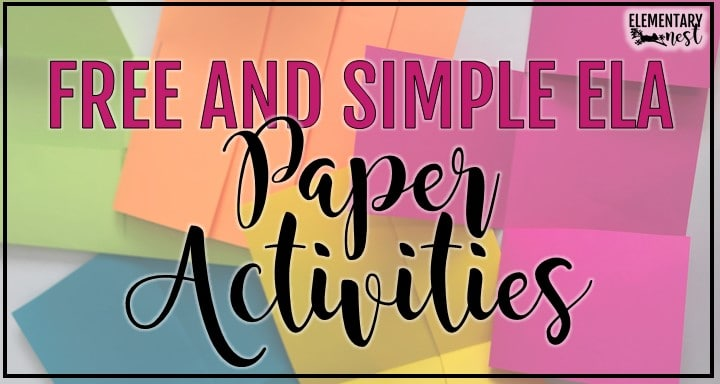 Free Folding Paper Activities for ELA