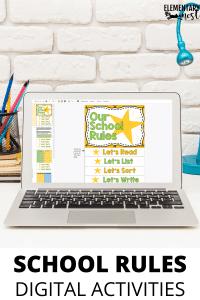school rules flip book on laptop