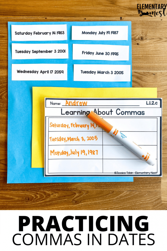Activity for students learning commas in dates.