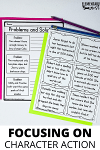 Second grade character activity, problem and solution.
