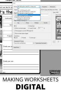 Print to PDF to make worksheets digital friendly for virtual teaching