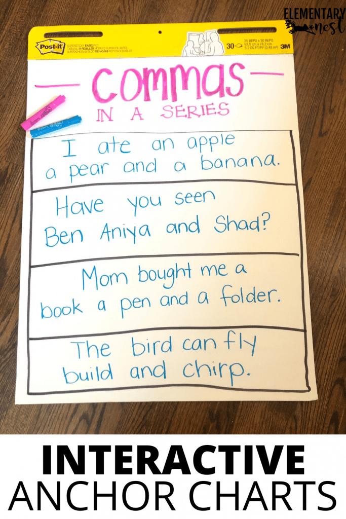 Teacher-created anchor chart to teach commas in a series.
