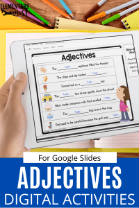 digital adjectives game on ipad for students