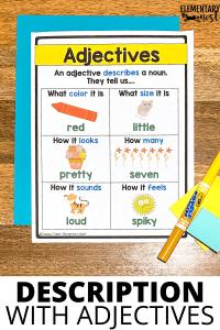 Printable adjectives anchor chart