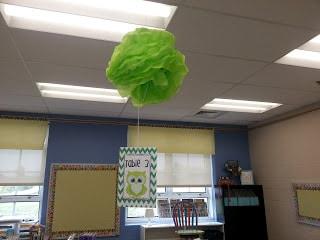 Hanging puff ball decor