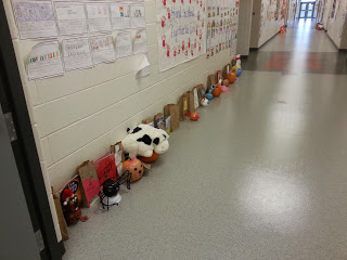 Pumpkin book reports in the hall