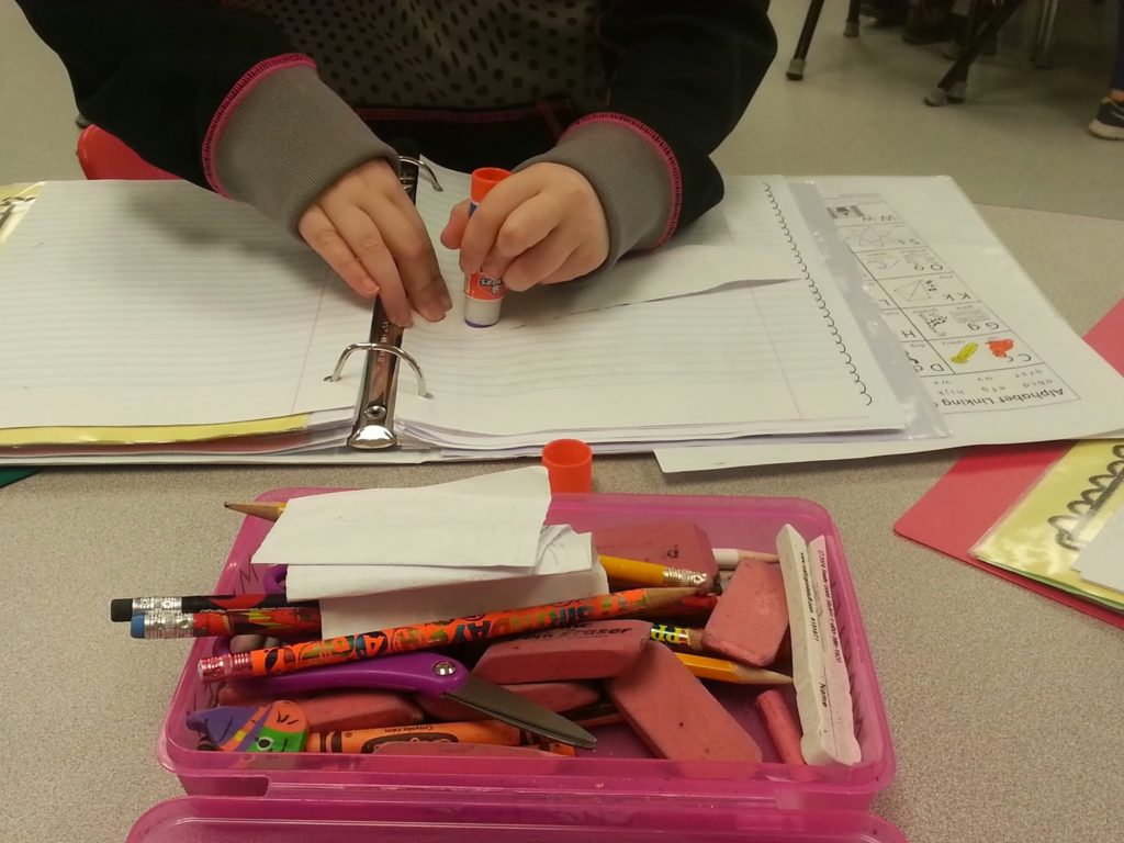 Child working on interactive notebook