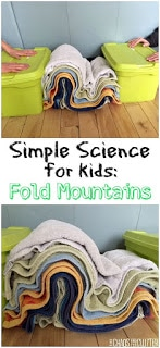 Folding mountains experiment for kids