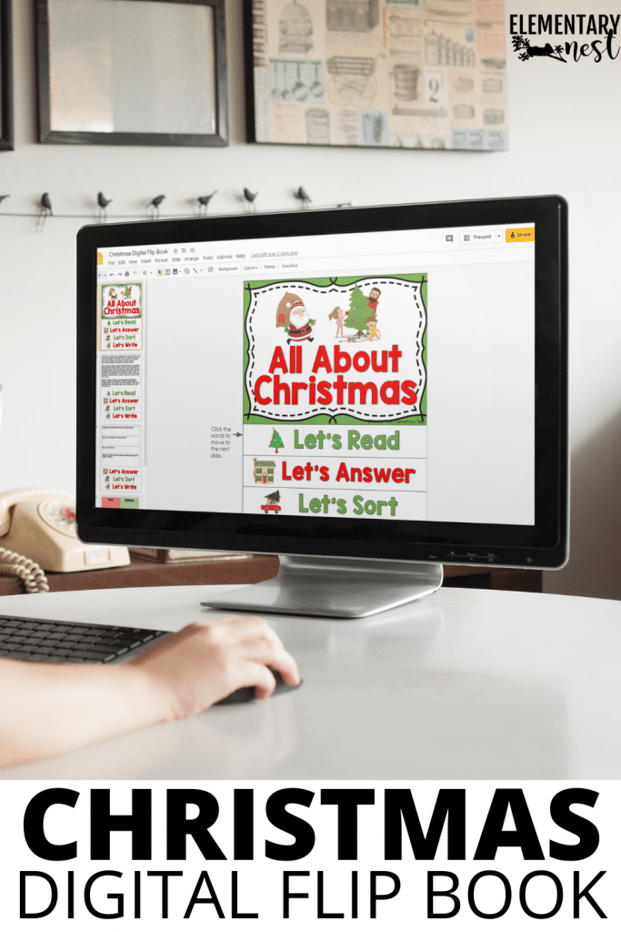 Christmas reading flip book, digital or virtual activity