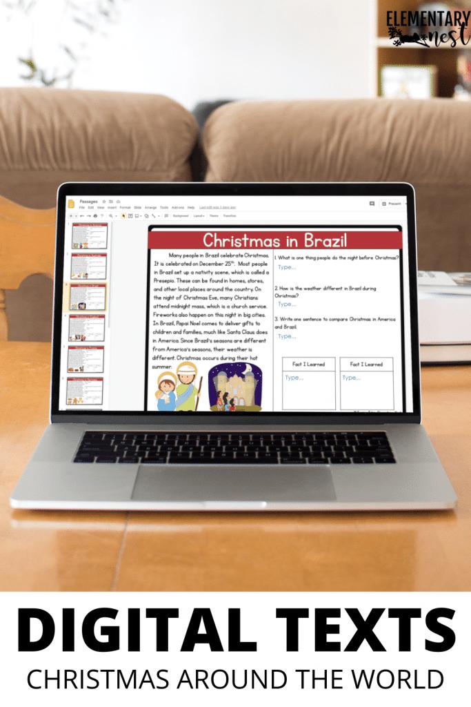 Digital Christmas Around the World reading comprehension activity