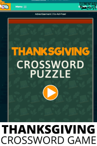 Interactive Thanksgiving Crossword Puzzle