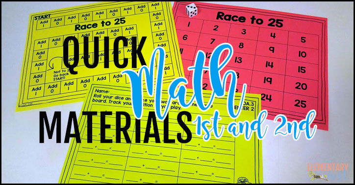 Quick math materials for 1st and 2nd grade