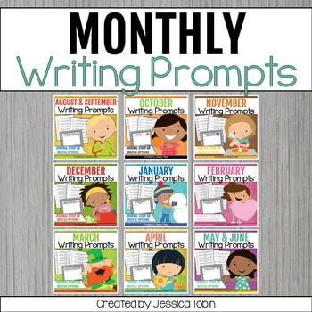 Monthly writing prompts for the classroom.