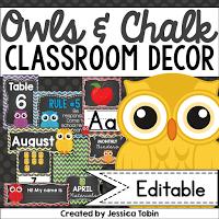 Owls and chalk themed classroom decor