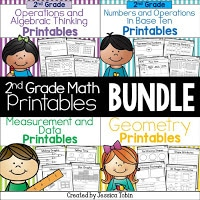 2nd grade math printables bundle
