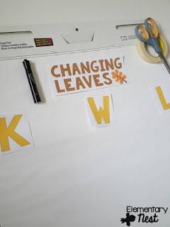 Changing leaves KWL anchor chart