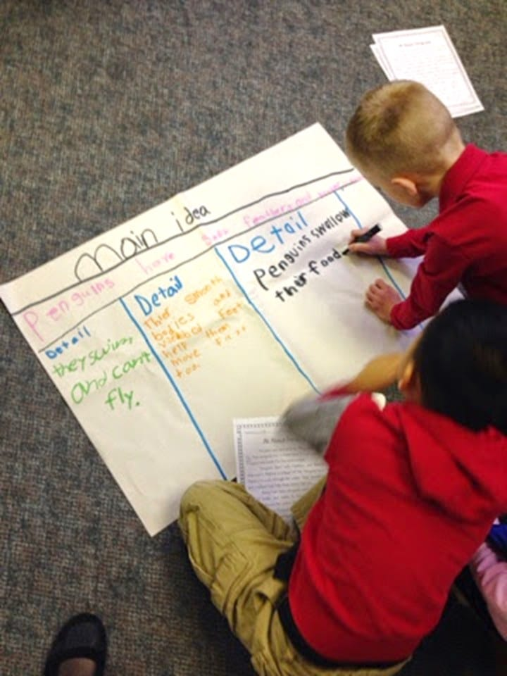 Student led main idea and key detail anchor chart
