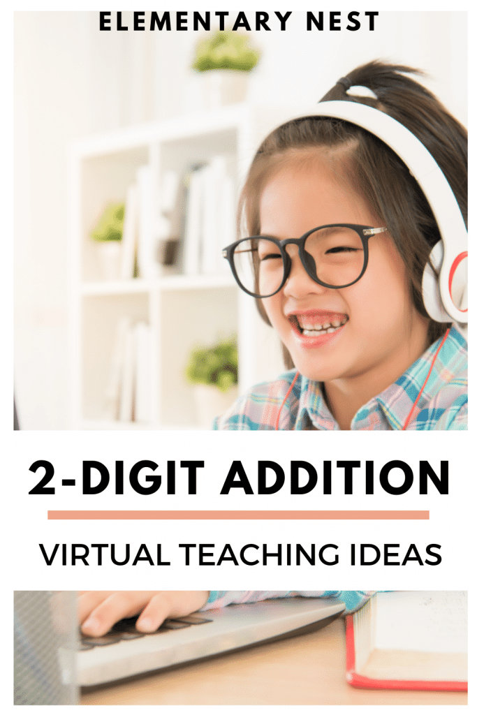 digital two-digit addition tips blog post- kid working on a laptop