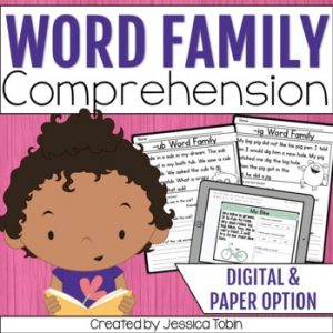 Word Families Reading Comprehension Passages