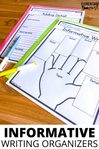 Informative Pre-Writing organizers to help students organize their writing