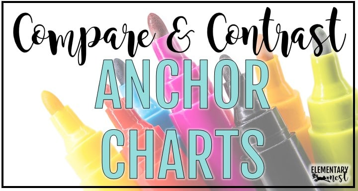 Blog post detailing anchor charts that can be used to teach compare and contrast
